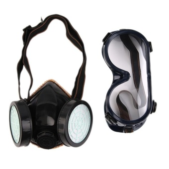 USTORE Protection Filter Double Gas Mask Chemical Gas RespiratorFace Mask Goggles Black - intl Price Philippines