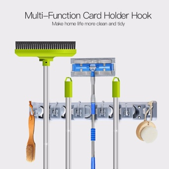 Utility Multifunctional Wall Mounted Mop Broom Sports Equipment Holder Garage Garden Kitchen Storage Organizer with 5 Ball Slots and 6 Hooks JYP08 - intl