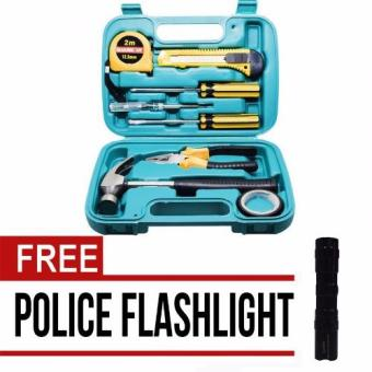 VeryGood 9pcs Professional Hardware Tools Set Accessory Repair HomeTool-Box Kits Case with Free Mini Police Flashlight