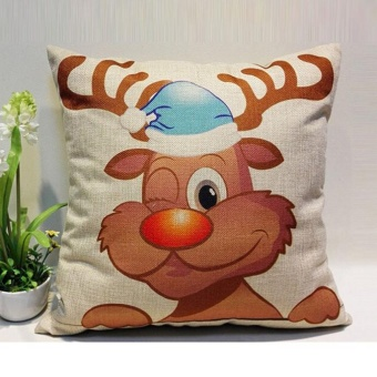 Vintage Christmas Reindeer Sofa Bed Home Decor Pillow Case CushionCover - intl