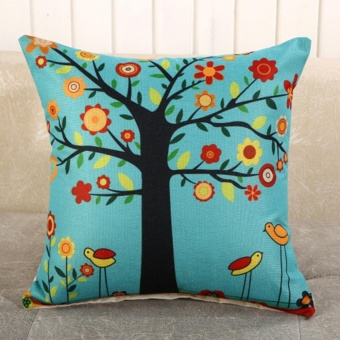 Vintage Linen Cotton Cushion Cover Throw Pillow Case Sofa HomeDecor Flower Tree - intl
