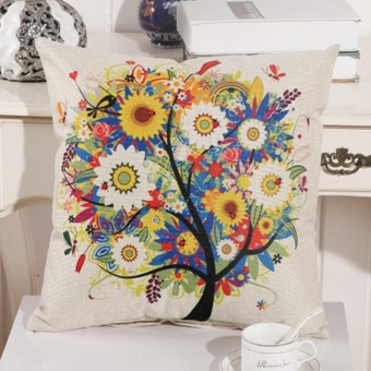 Vintage Linen Cotton Cushion Cover Throw Pillow Case Sofa HomeDecor Sunflower Tree - intl