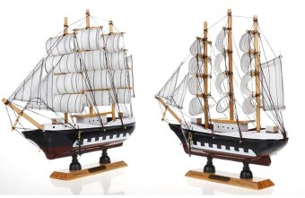 "Vintage Nautical Wooden Model Ships 9"" Wood Sailboat Boat Home Decor Handicraft (6S-24C) - intl Price Philippines"
