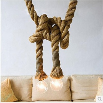 Vintage Rustic Hemp Rope Ceiling Chandelier Creative Pendant LampHanging Lights for Living Room Bar Public Places DecorSpecification:Dual head(1M) - intl