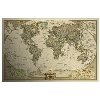 Vintage Style Paper Poster Log The World Map Decor Giant Chart the Atlas - intl Price Philippines