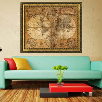 Vintage Style Retro Cloth Poster Globe Old World Nautical Map Gifts - Intl