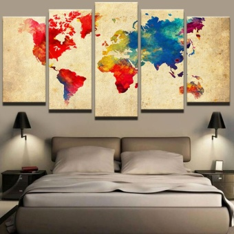 Vintage Watercolor World Map Picture 5 Pieces Abstract Art WallPaintings Canvas Print Poster Picture For Home decor Frameless -intl