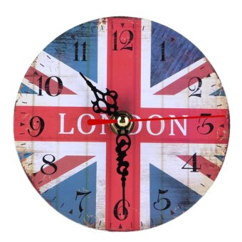 Vintage Wooden Wall Clock British Union Jack - intl
