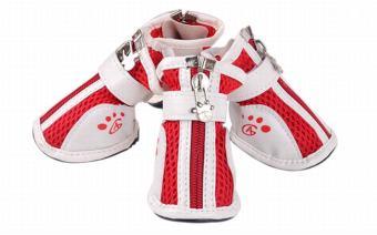 Vococal Fashion Anti-Slip Mesh Zipper Pet Shoes Accessories (Red)