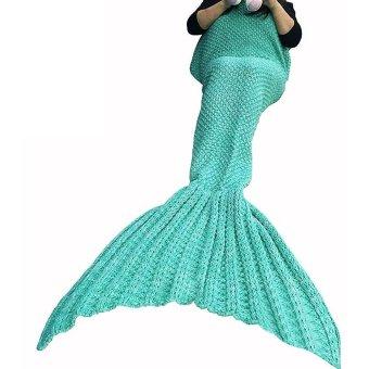 "voogol Crochet Mermaid Tail Blanket for Kids Teens Adult,Crochet Knitting Blanket Seasons Warm Soft Living Room Sleeping Bag Best Birthday Christmas Gift ""35x71"" Inch,Light Green - intl"
