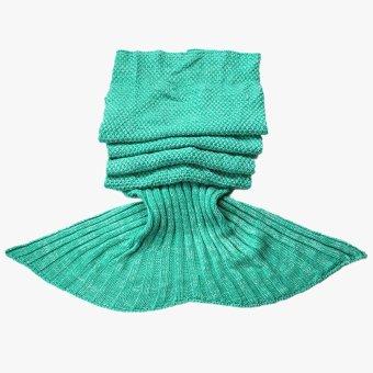 "voogol Crochet Mermaid Tail Blanket for Kids Teens Adult,Crochet Knitting Blanket Seasons Warm Soft Living Room Sleeping Bag Best Birthday Christmas Gift ""35x71"" Inch,Light Green - intl - picture 2"
