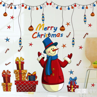 Wall adhesive paper Christmas snowman living room dormitory sticker