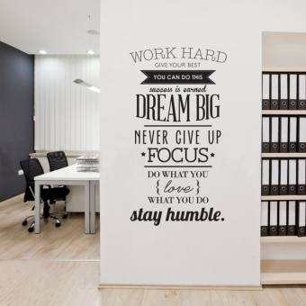 Wall Decals Quotes Work Hard Vinyl Wall Sticker Letras DecorativasOffice Home Decoration Wall Art Wall Stickers(size:100cm*56cm)---black - intl