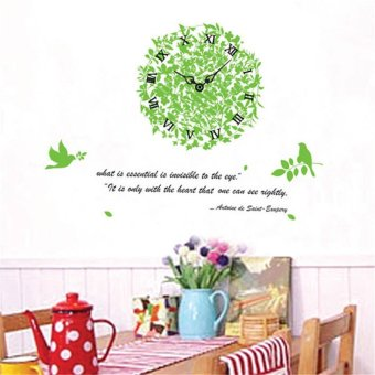 Wall Decals Style Green Leaves Bird Clock PVC Sticker