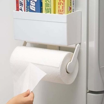 Wall-Mounted Paper Towel Rack Toilet Roll Paper Holder MagnetAdsorption Shelves Toilet Kitchen Storage Rack 24.5Cm * 8Cm *11.3Cm - intl