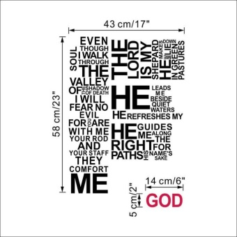 Wall Vinyl Sticker Decal Cross Jesus Christ Psalm Pray BibleBedroom Mural - intl