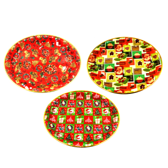 "Wallmark ""Assorted 01"" Big Oval Shaped Christmas Tray set of 3"