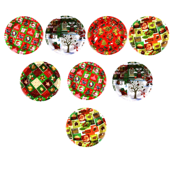 Wallmark Assorted Colorful Christmas Plate set of 8