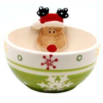Wallmark Collectible Reindeer with Snowflakes Christmas Bowl (Green)