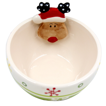Wallmark Collectible Reindeer with Snowflakes Christmas Bowl (Green) - picture 2