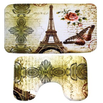 Wallmark Eiffel Tower Bathroom Floor Mat Set