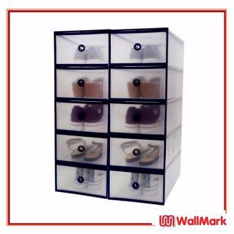Wallmark Foldable Plastic Transparent Drawer Case Shoe Storage Organizer Stackable Box Men Size Set of 10 (Navy Blue)