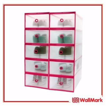 Wallmark Foldable Plastic Transparent Drawer Case Shoe Storage Organizer Stackable Box Men Size Set of 10 (Pink)