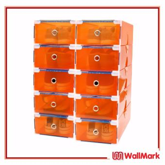 Wallmark Foldable Plastic Transparent Drawer Case Shoe Storage Organizer Stackable Box Set of 10 (Orange)