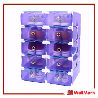 Wallmark Foldable Plastic Transparent Drawer Case Shoe Storage Organizer Stackable Box Set of 10 (Purple)