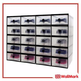 Wallmark Foldable Plastic Transparent Drawer Case Shoe Storage Organizer Stackable Box Set of 20 (White/Black)