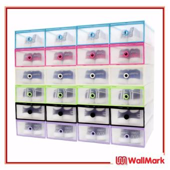 Wallmark Foldable Plastic Transparent Drawer Case Shoe Storage Organizer Stackable Box Women Size Set of 24 (Multicolor)