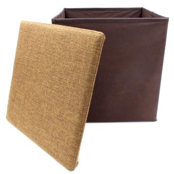 Wallmark Linen Fabric Ottoman Storage Box Chairs (Barleycorn) - 4