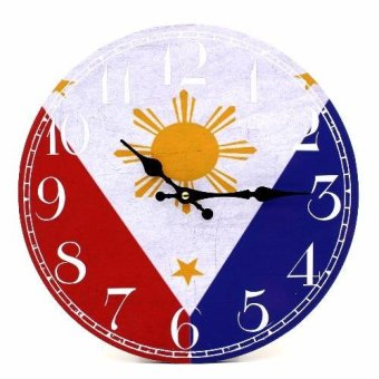 Wallmark Philippine Flag Wooden Wall Clock