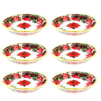 Wallmark Red Poinsettia Collectible Christmas Plate Set of 6(White)