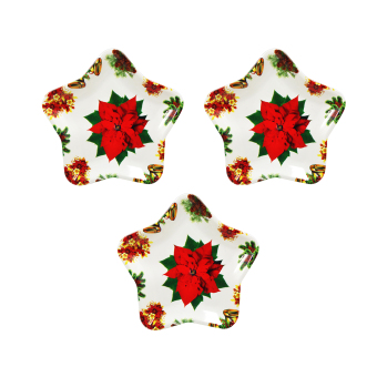 "Wallmark ""Red Poinsettia"" Star Shape Christmas Plate set of 3"
