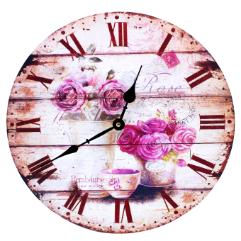 Wallmark Roses Wooden Wall Clock
