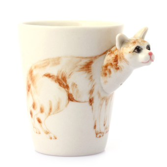 Warm 3D pet cat puppy model cup ceramic cup