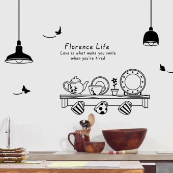 Warm and romantic black and white restaurant kitchen sofa decorative wall stickers wall adhesive paper
