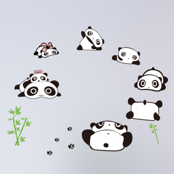 Warm cute PANDA living room Children's room decorative wall painting wall adhesive paper
