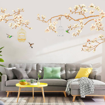 Warm living room wall decoration room bedside adhesive paper flowers and birds