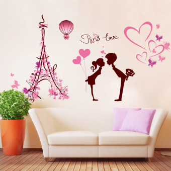 Warm sticker bedroom romantic Paris tower wall adhesive paper