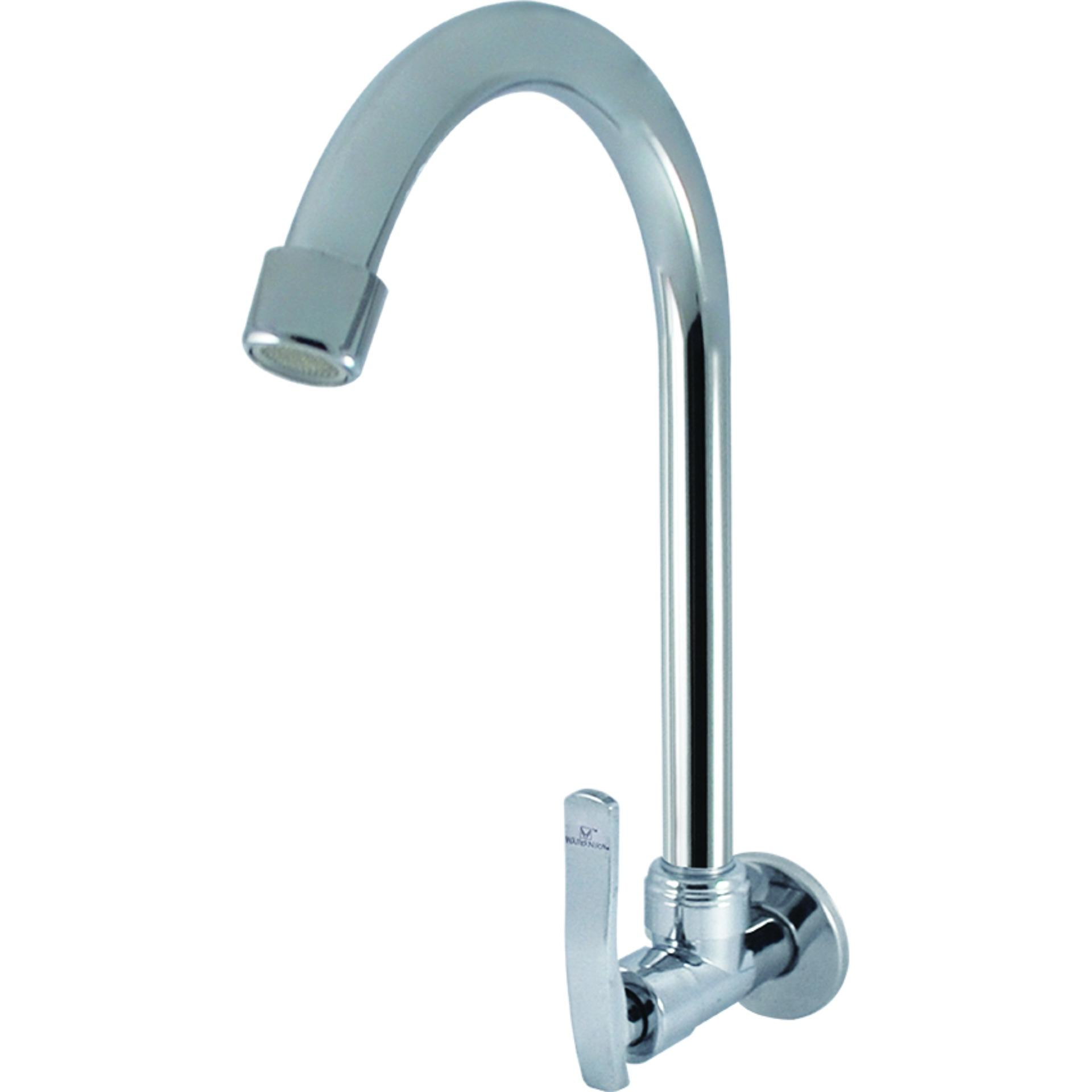 Wassernison Wall Mounted Hybrid Goose Neck Faucet in Chrome Finish ...