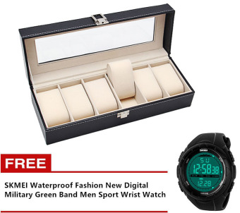 Watch Box Storage Management 6 Compartment Organizer (Black) with Free SKMEI Waterproof Fashion New Digital Military Green Band Men Sport Wrist Watch