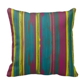 Watercolor Stripes One Side Printing Pillow Case Cover(Multicolor)