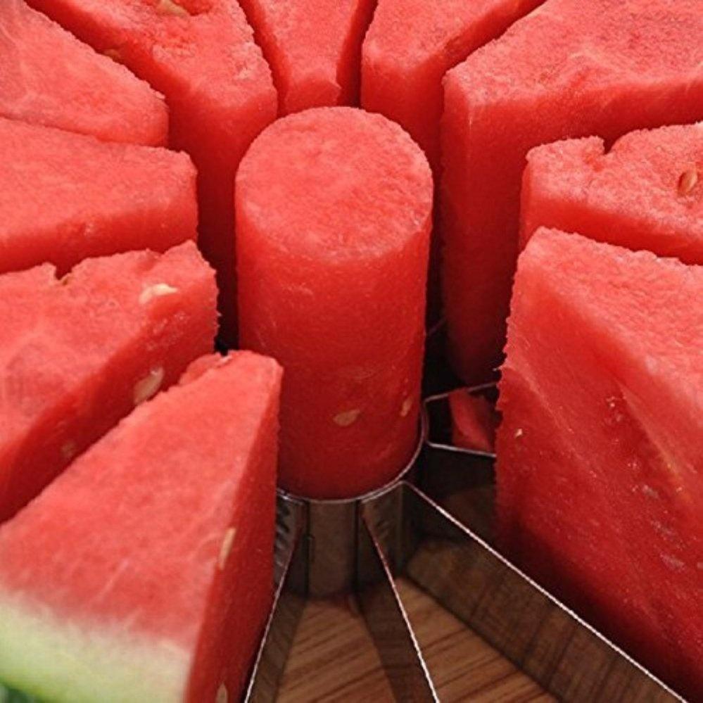 Watermelon Slicer diameter 22cm Large Stainless Steel Fruit Cantaloup Melon Slicer Cutter Peeler Corer Server for Home(White) - intl