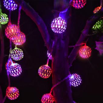 Waterproof 20 LED Solar Powered Fairy Holiday Party Light Moroccan Lantern Silver Metal Globe String Lights Lamp For Garden Outdoor Christmas Tree (Multicolor) - intl