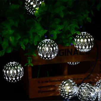 Waterproof 20 LED Solar Powered Fairy Holiday Party Light MoroccanLantern Silver Metal Globe String Lights Lamp For Garden OutdoorChristmas Tree (Pure White) - intl