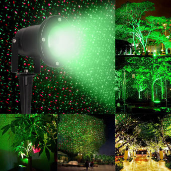Waterproof Outdoor Landscape Projector R&G Stars Laser Light w/Remote - intl