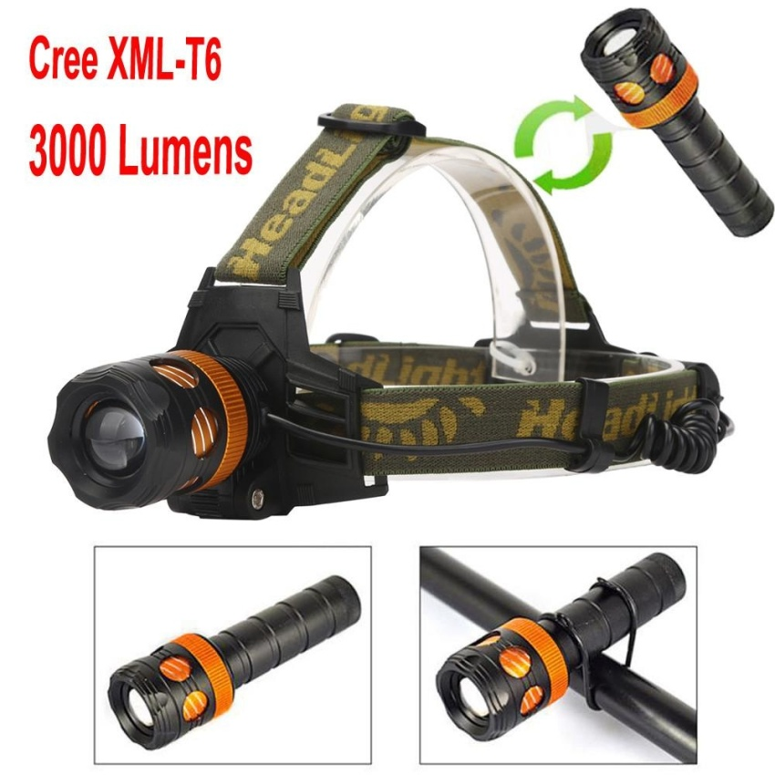 Waterproof XML-T6 LED 3in1 Zoom Headlamp Rechargeable Flashlight Bicycle Light - intl