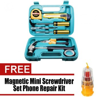 Wawawei 9pcs Professional Hardware Tools Set Accessory Repair HomeTool-Box Kits Case Can Used for Car and Bike with free WawaweiHS-6036A/JK-6036C 31 in 1 Precision Magnetic Mini Screwdriver SetPhone Repair Kit Torx Tools Sets